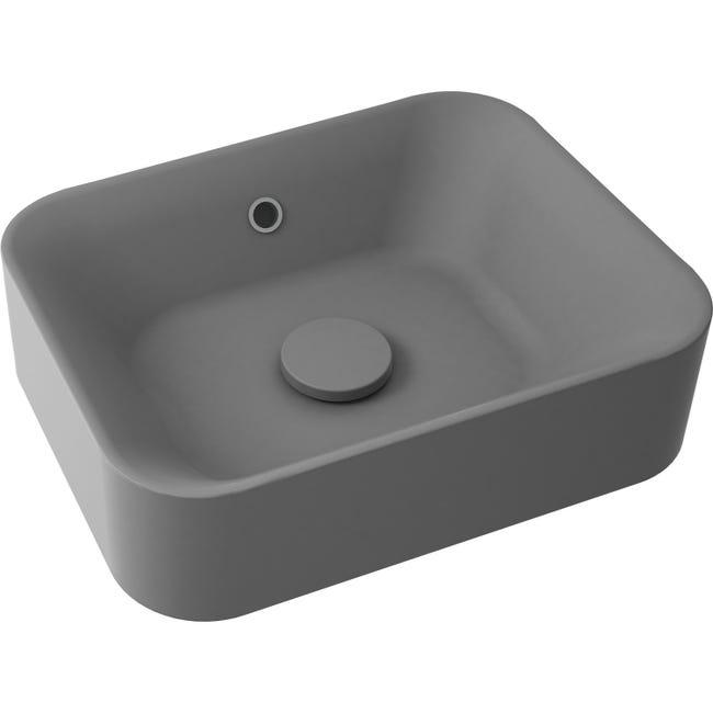 Vasque A Poser Resine De Synthese L 48 X P 38 Cm Gris Anthracite Sensea Capsule Leroy Merlin