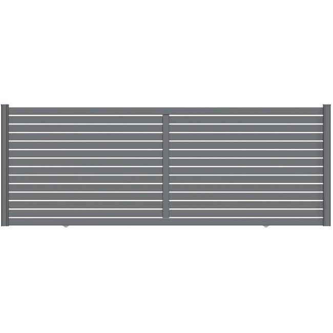 Portail Coulissant Aluminium Trez Gris Zinc Naterial L 412 X H 153 Cm Leroy Merlin