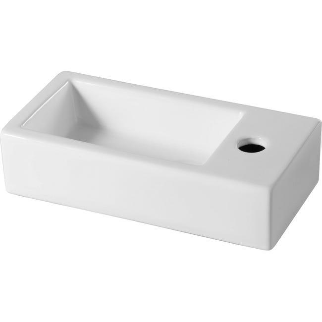 Lave Mains Ceramique Rectangle Blanc L 38 5 X P 18 5 Cm Rabat Leroy Merlin