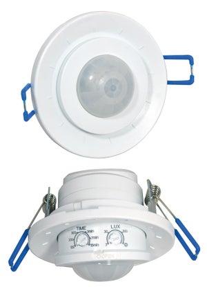 Détecteur de mouvement à encastrer 360°, plastique, blanc