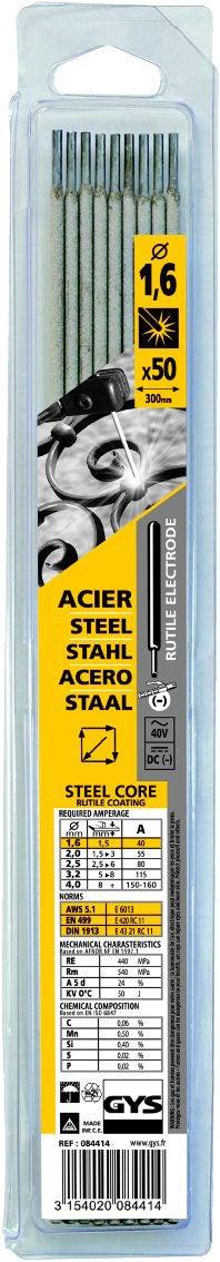 Diamètre 1,6 mm Vendu par 210 Electrode traditionnelle acier rutile Gys