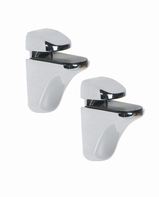 Lot De 2 Supports Tablette Pince Chrome Brillant Leroy Merlin