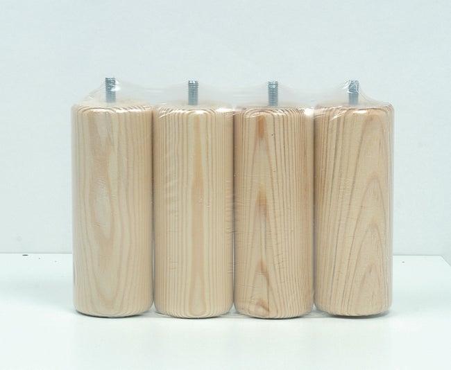 Lot De 4 Pieds De Meuble Cylindrique Fixes Pin Vernis Blanc 15 Cm