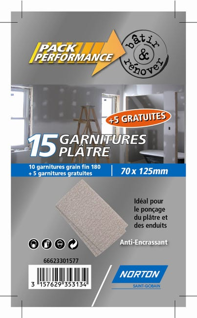Lot De 15 Cales A Poncer Abrasives Norton Grains 180 Leroy Merlin