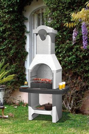 Image : Barbecue en béton béton gris clair. à crépir Torquay, l.58 x L.88 x H.177 cm