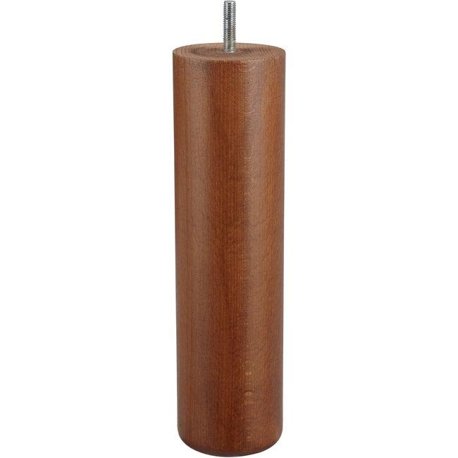 Pied De Lit Sommier Cylindrique Fixe Hêtre Teinté Marron 25 Cm