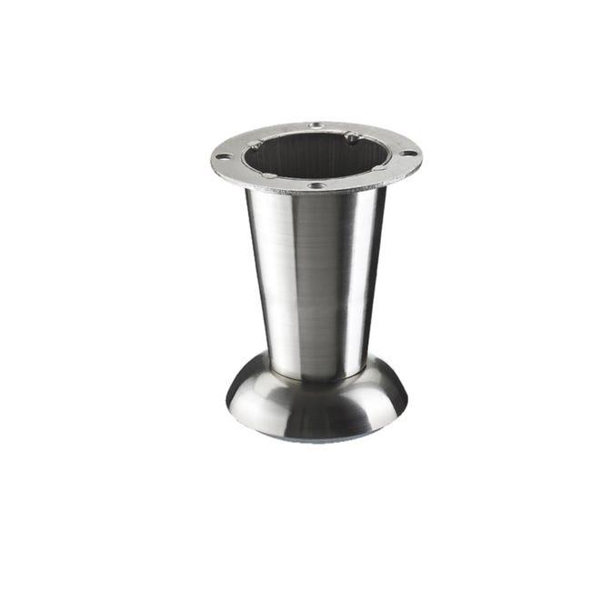 Pied Meuble Cylindrique Hettich Fixe Acier Brosse Gris Leroy Merlin