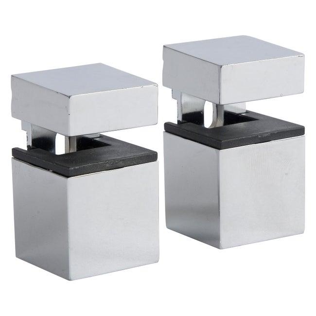 Lot De 2 équerres Pince Cube Acier Chromé Gris H45 X P3 Cm