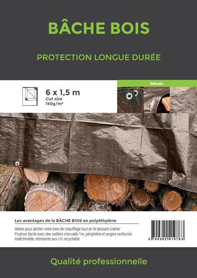 Bâche De Protection En Pe Rectangulaire 600 X 150 Cm Marron