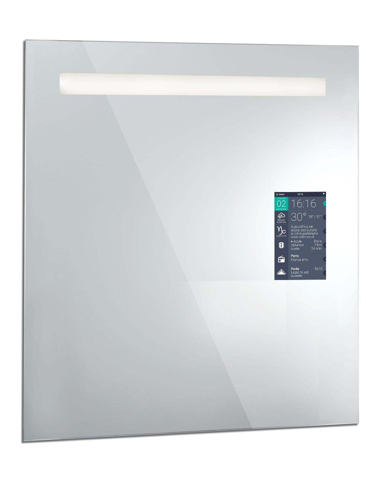 Miroir lumineux avec éclairage intégré, l.16 x H.16 cm Miralite connect