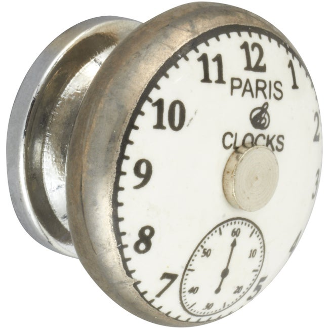 Bouton De Meuble Montre Porcelaine H38 X L38 X P28 Mm