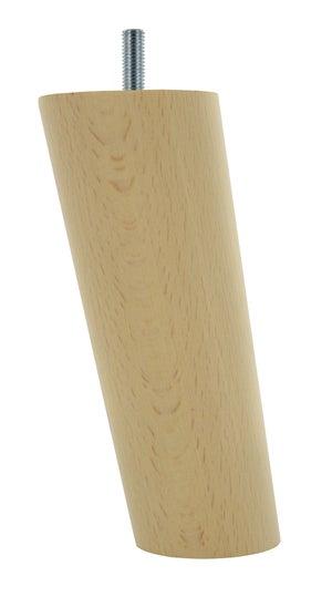 Pied de meuble conique fixe hêtre brut blanc / beige / naturels, 15 cm