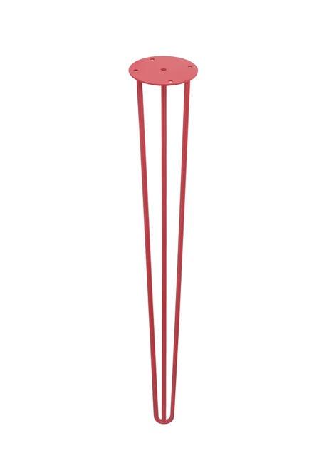 Pied table epingle fixe acier époxy rouge, de 70 à 73 cm