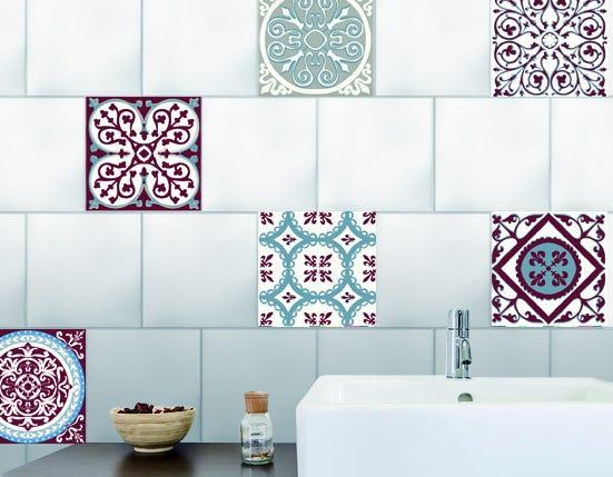 Stickers Adhesifs Carrelage Mural Carreaux De Ciment Rouge Et Bleu 15 Cm X 15 Cm Leroy Merlin