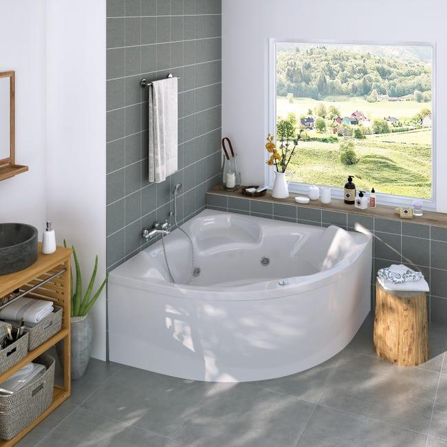 Tablier De Baignoire Balneo D Angle Blanc L 140 X L 140 Cm Relax Whisper Perfect Leroy Merlin