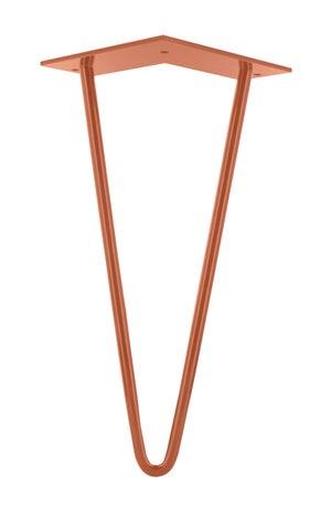 Image : Pied de table basse design fixe acier époxy cuivre, 30 cm