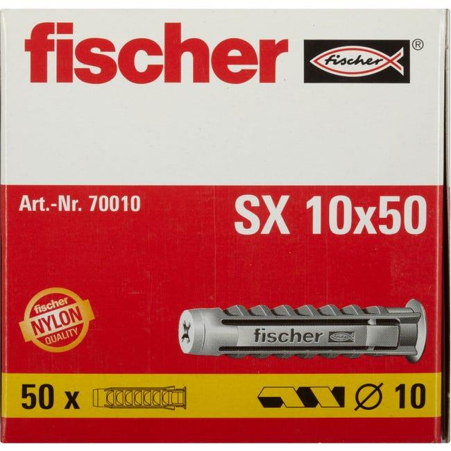 Lot De 50 Chevilles A Expansion Sx Fischer Diam 10 X L 50 Mm Leroy Merlin