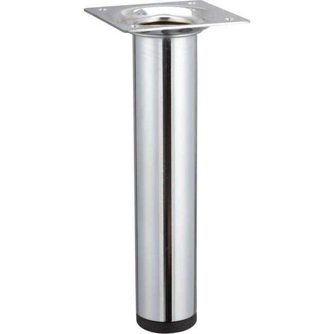 Pied Meuble Cylindrique Fixe Acier Chrome Gris 15 Cm Leroy Merlin