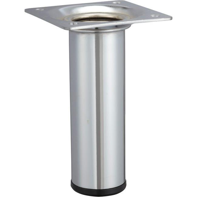 Pied De Meuble Cylindrique Fixe Acier Chrome Gris 10 Cm Leroy Merlin