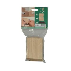 Lot de 2 angles pour plinthe parquet chêne brut, L.11 cm x H.23 x Ep.14 mm