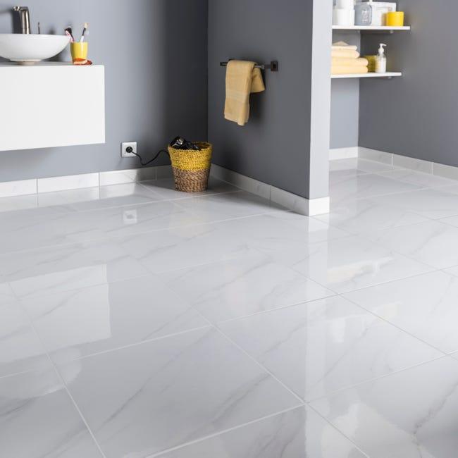 Carrelage Sol Et Mur Medio Effet Marbre Blanc Samos L 45 X L 45 Cm