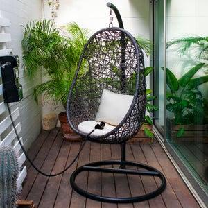 Image : Balancelle de jardin en acier Suspendue noir et blanc