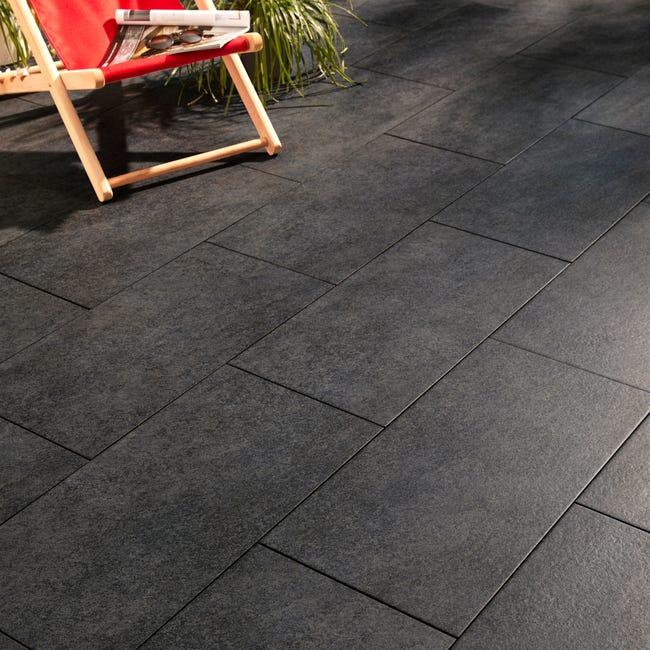 Carrelage Sol Exterieur Forte Effet Beton Noir Stone Edge L 30 X L 60 Cm Leroy Merlin