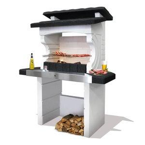 Image : Barbecue en béton gris et noir Kos, l.125 x L.72 x H.161 cm