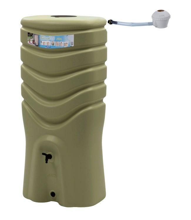 Récupérateur d'eau et collecteur aérien EDA rectangulaire vert olive , 350 l