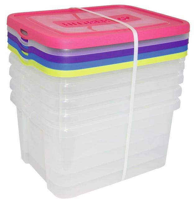 Lot De 5 Boites Allibert Plastique Transparent L 44 8 X P 34 5 X H 22 Cm Cm Leroy Merlin