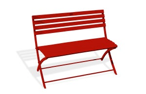 Image : Banc 2 places de jardin en aluminium Marius rouge