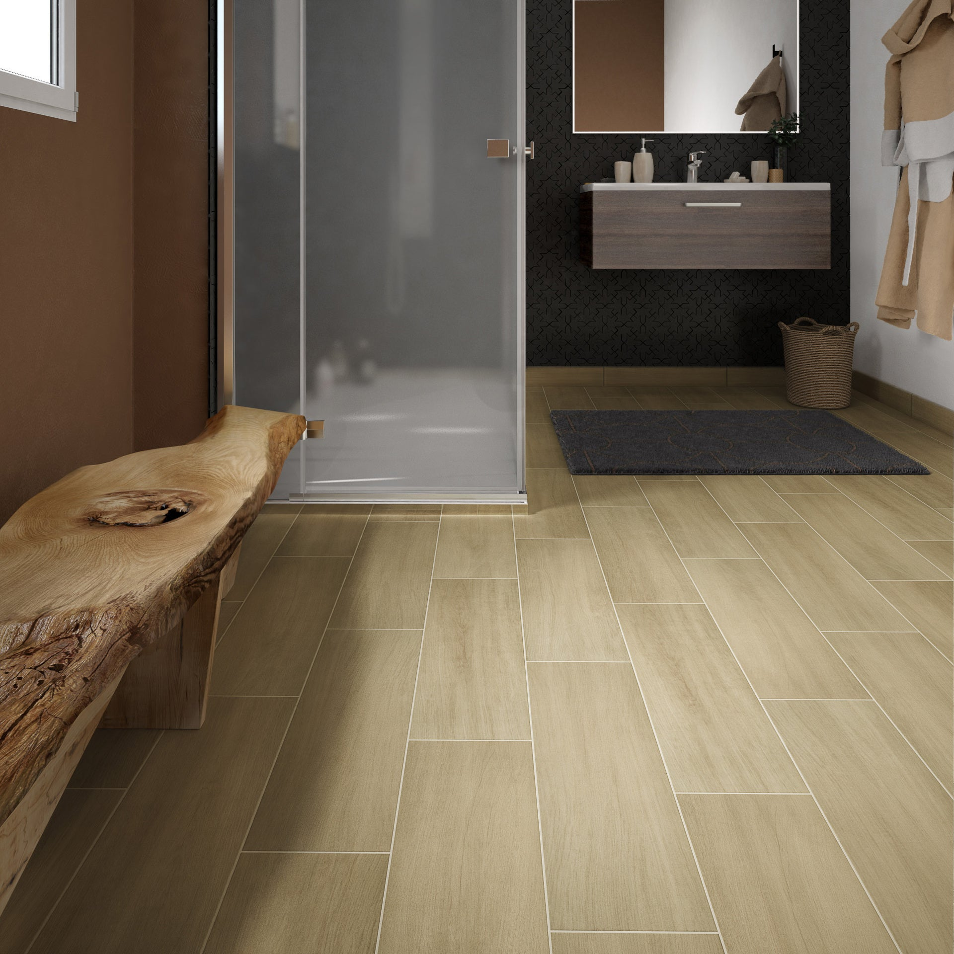 carrelage sol et mur intenso effet bois beige clair helsinka l 20 x l 60 cm