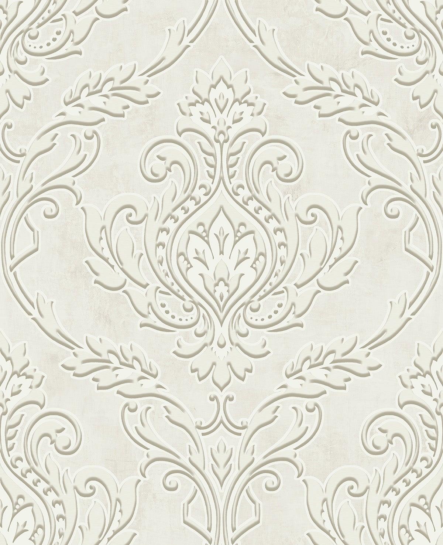Papier peint baroque Méduse Ornement Papier Peint Hermitage Brillance Or Avec Bleu Fleurs