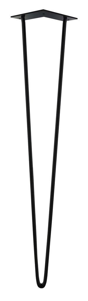 Image : Pied de table design fixe acier époxy noir, 71 cm