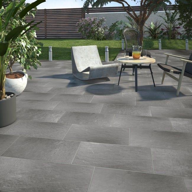 Carrelage sol extérieur medio effet pierre gris Lazy l.30 x L.60 cm | Leroy Merlin