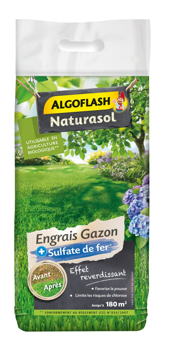 Anti Mousse Naturel Terrasse engrais naturel gazon antimousse algoflash naturasol 7,2 kg 180 m²