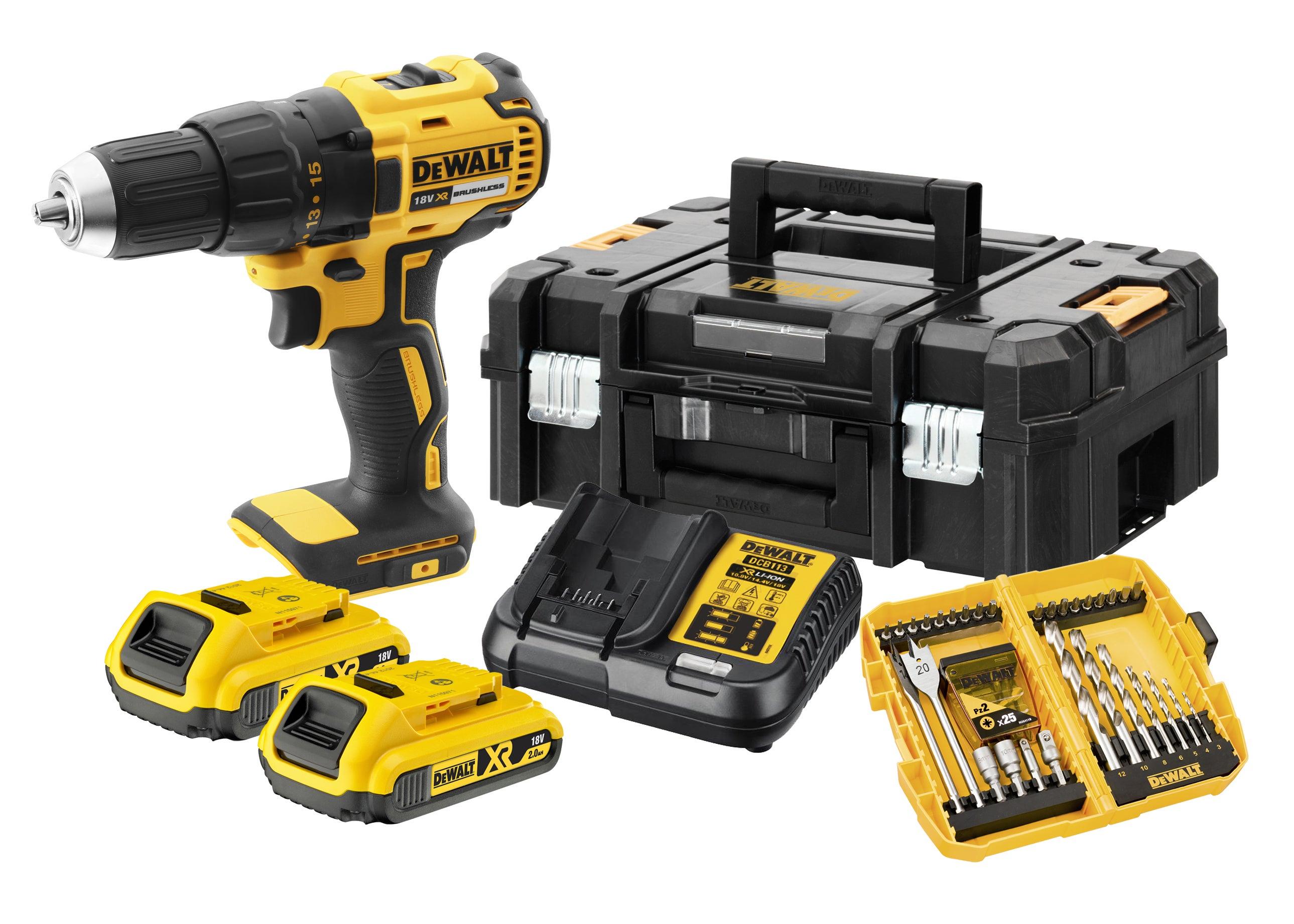 Perceuse sans fil DEWALT, 18 V 2 Ah, 2 batteries DCE777D2K + 56 accessoires