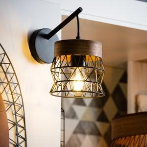 Image : Applique, nature métal bois / noir INSPIRE Manam 1 lumière(s)