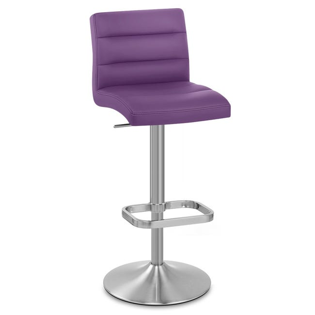 Tabouret De Bar Design Simili Cuir Violet Lush Leroy Merlin