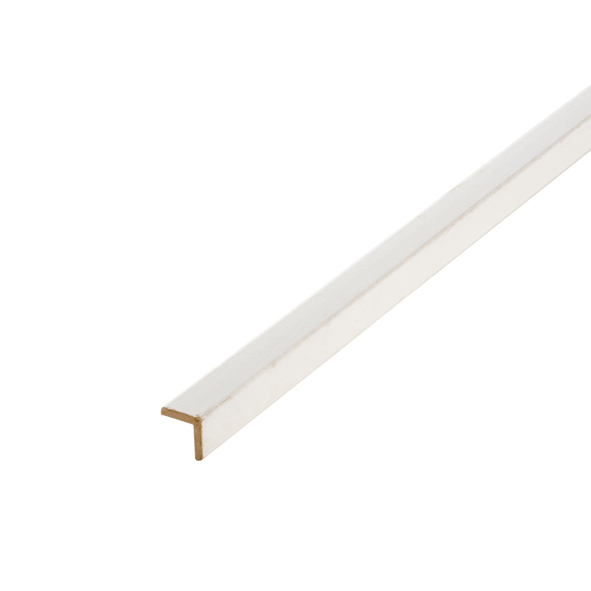 baguette d'angle médium mdf arrondie blanc 28 x 28 mm