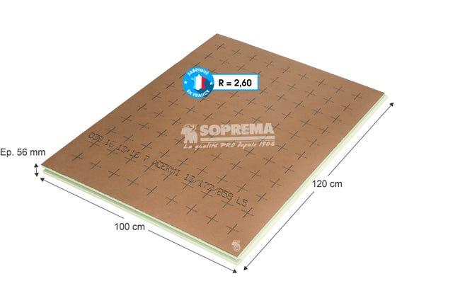 Panneau Pour Isolation Polyurethane L 1 X L 1 2 X Ep 56 Mm Rr1 A R3 Leroy Merlin