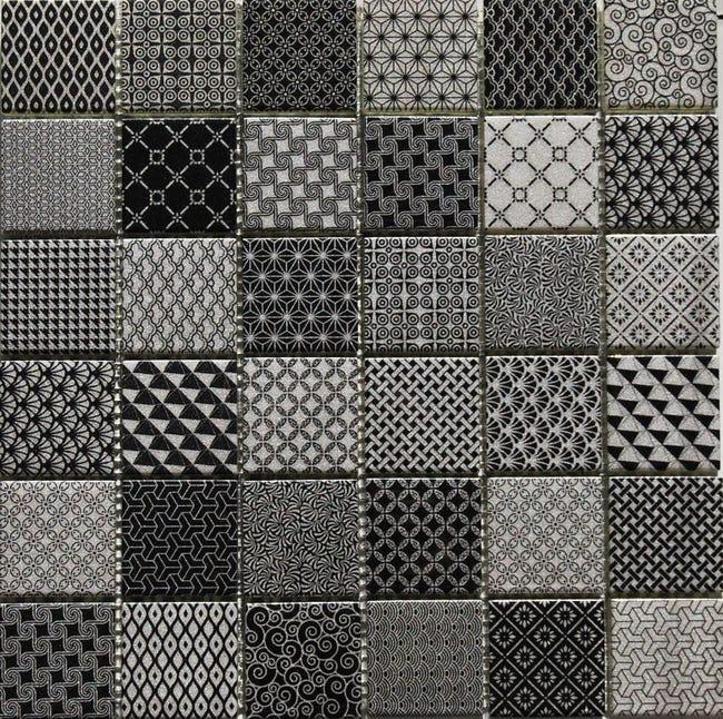 Mosaique Sol Et Mur Resine Argent Gris Noir 4 8 X 4 8 Cm Leroy Merlin