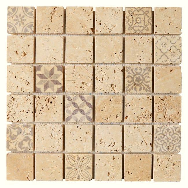 Mosaique Sol Et Mur Travertin Decor Beige 4 8 X 4 8 Cm Leroy Merlin