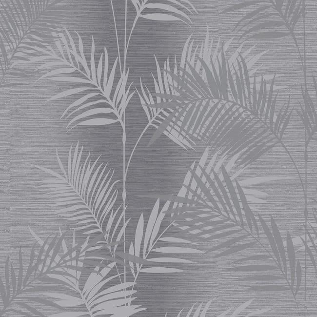 papier peint vinyle diamon palm gris