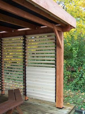 Brise Vue Terrasse Bois brise-vue à dérouler multicouleur, h.0.8 x l.3 m, 80% occultant, scenolia