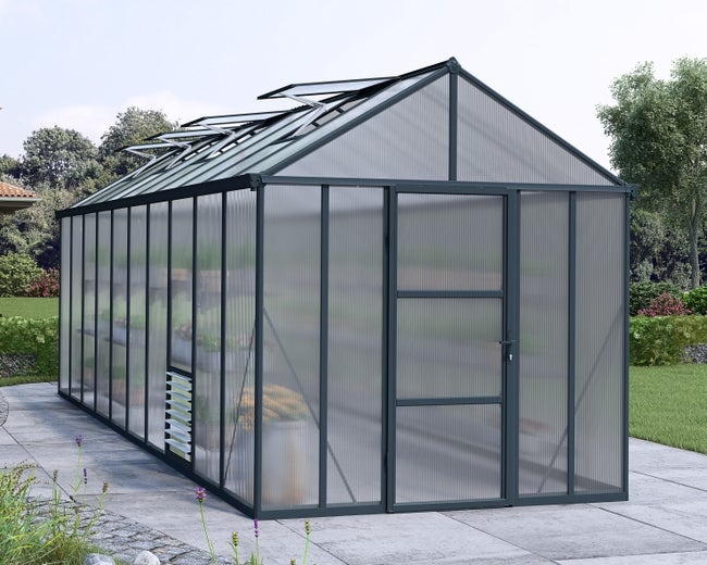 Serre de jardin GLORY 14.3 m², aluminium et polycarbonate double parois,  PALRAM