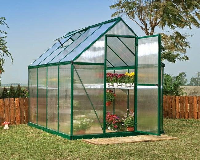 Serre de jardin MYTHOS 4.5 m², aluminium et polycarbonate double parois,  PALRAM
