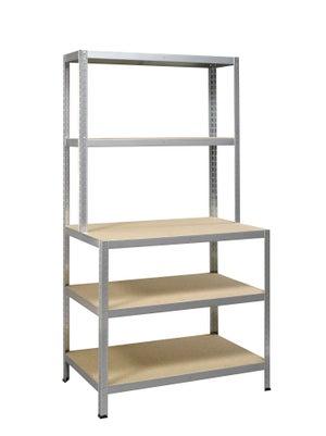 Image : Etagère métal gris galvanisé strong work, 5 tablettes l.100 x H.186 x P.60 cm