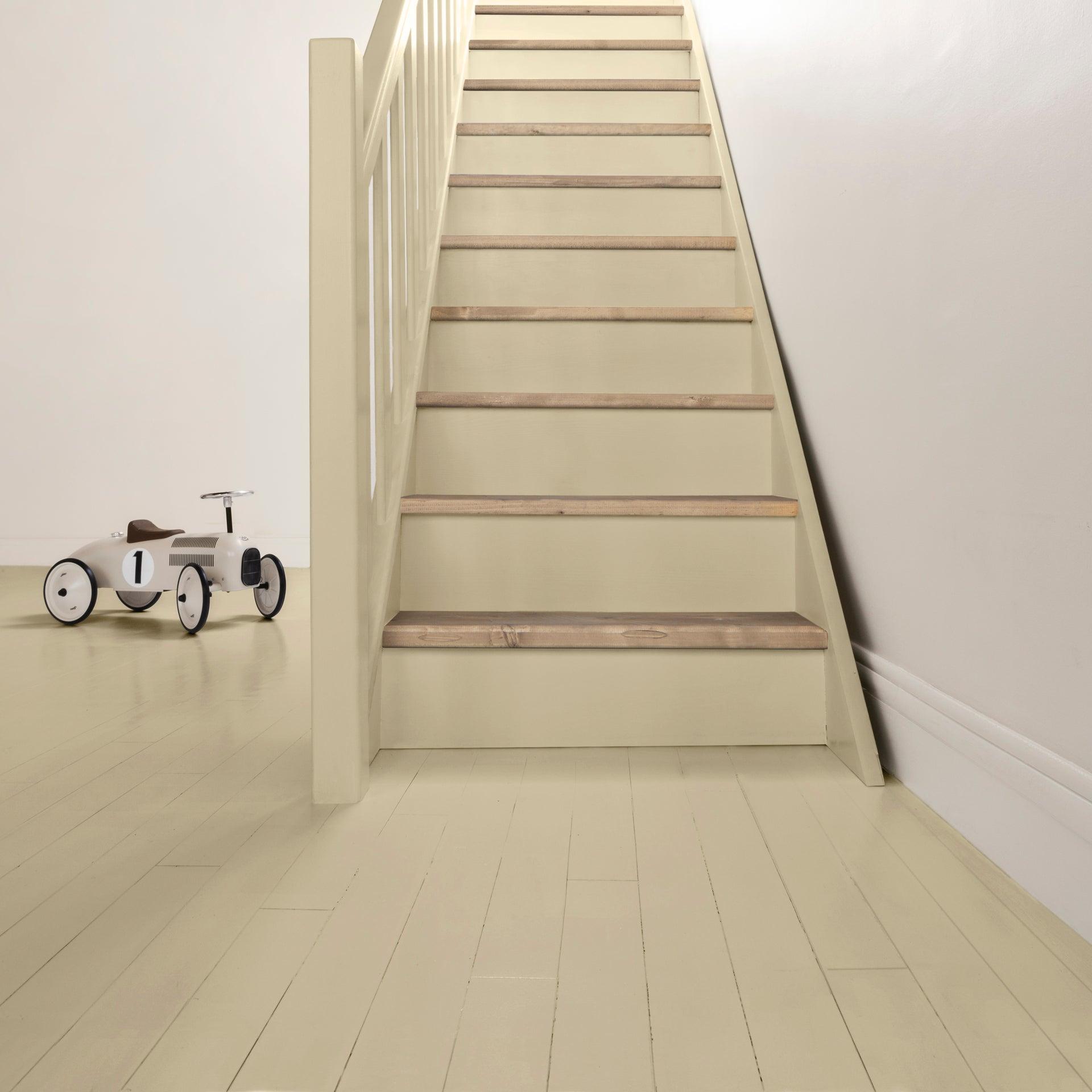 Peinture sol intérieur Parquet escalier décolab® V110, beige ficelle, 10.10 l