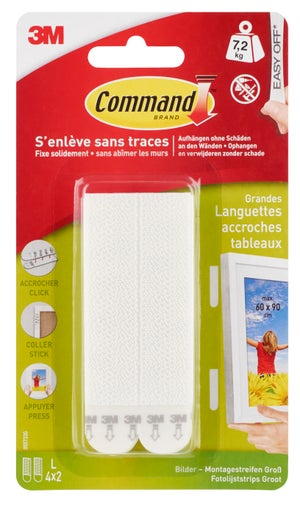 Image : Lot de 8 languettes adhésives réutilisable Command grand modèle COMMAND, blanc